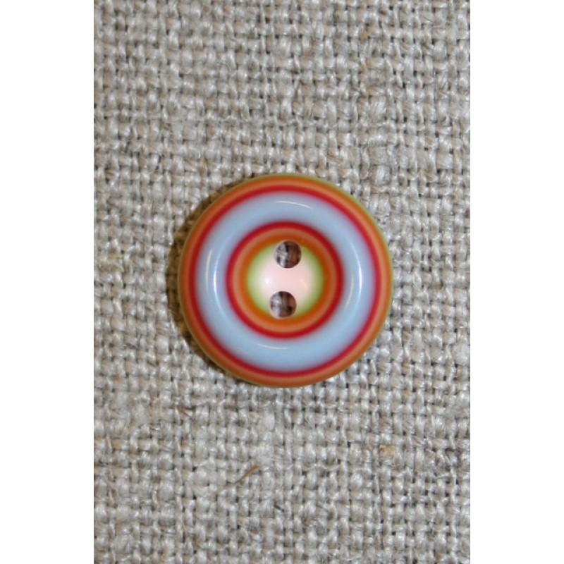 Flerfarvet knap m/cirkler, rød/lyseblå/lyserød, 13 mm.-35