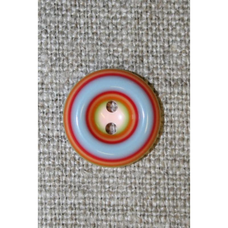 Flerfarvet knap m/cirkler, rød/lyseblå/lyserød, 15 mm.