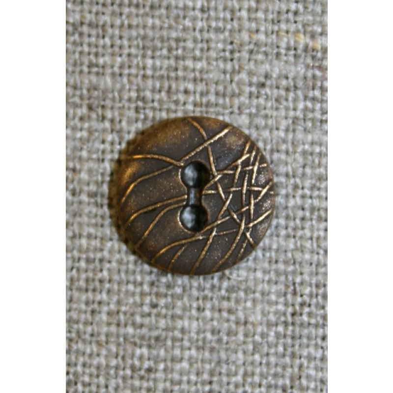 2-huls knap m/streger, gl.guld 13 mm.-35