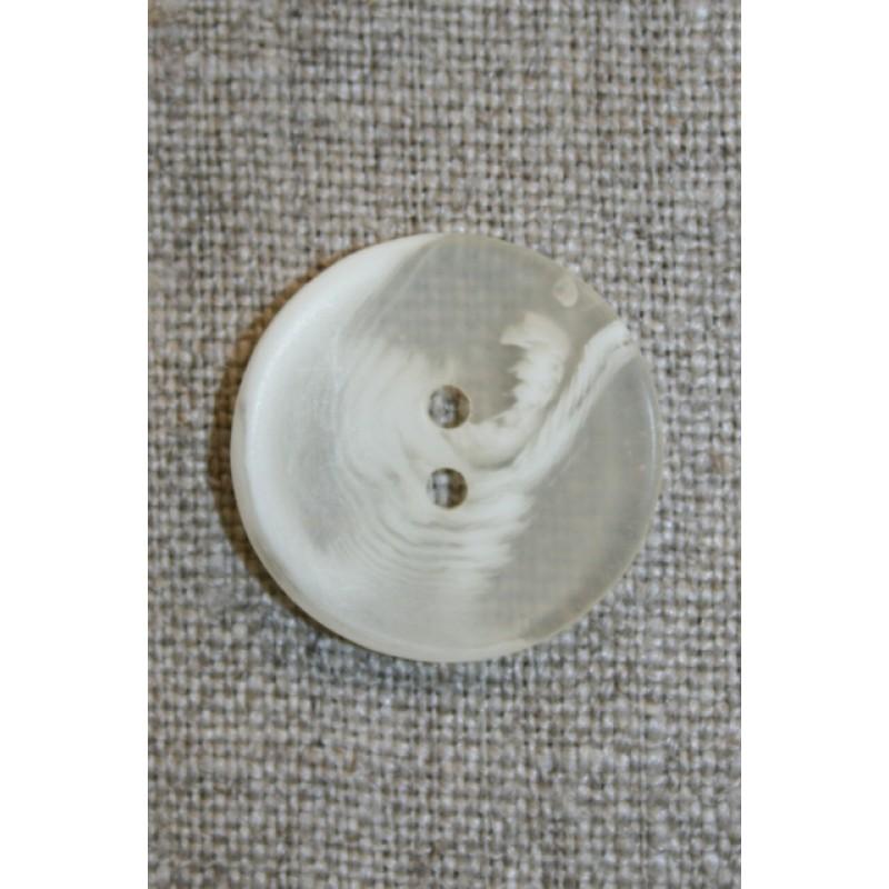 Buet knap hvid/klar 22 mm.-31