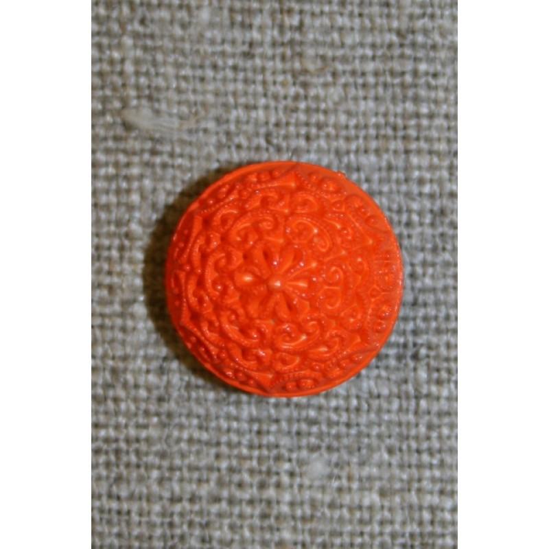 Rund knap m/mønster, 15 mm. orange-35