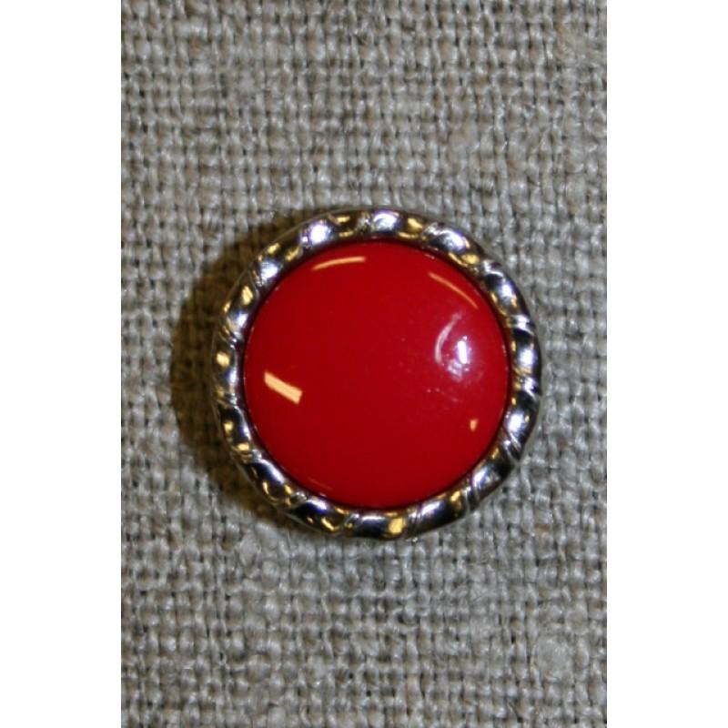 Knap m/sølv-kant, rød 15 mm.