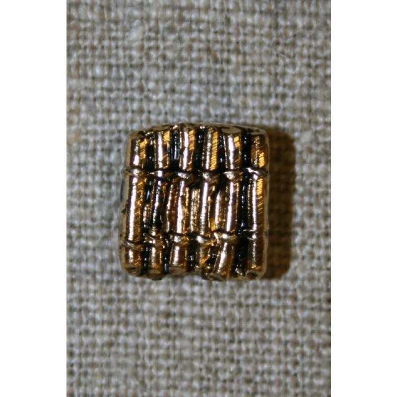 Firkantet knap m/riller, guld/sort-35