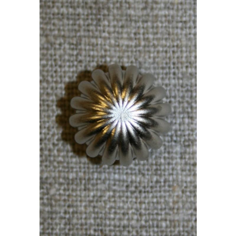 Knap rund m/riller, sølv 11 mm.-35