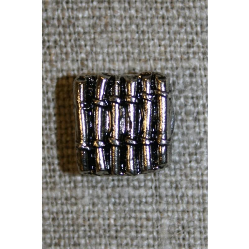 Firkantet knap m/riller, sølv/sort-35