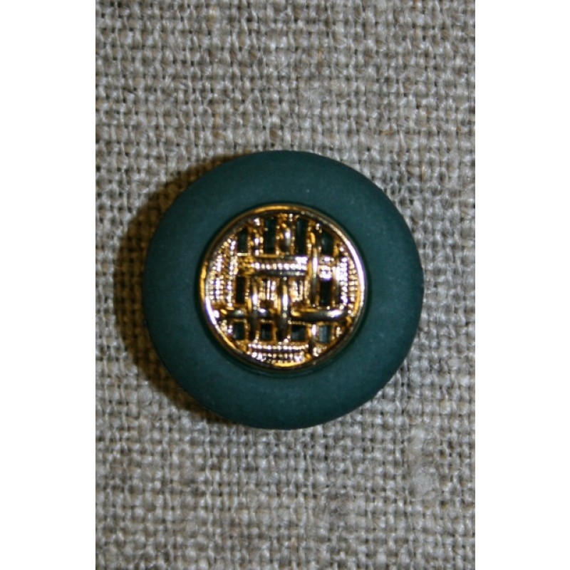 Knap flaskegrøn m/guld, 18 mm.-35