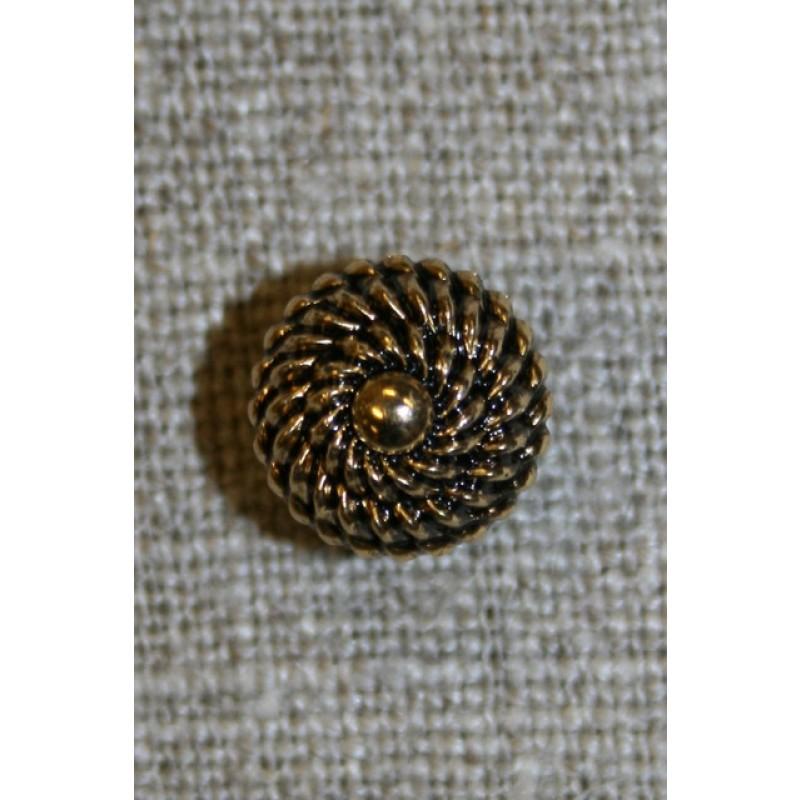 Rund gl.guld knap m/mønster, 11 mm.-35