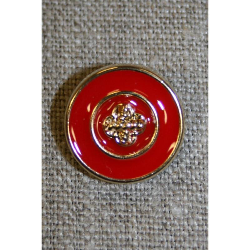 Rød/guld knap, 18 mm.