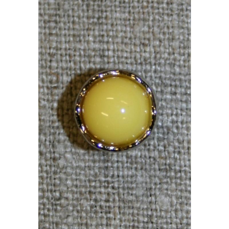 Rund gul knap m/sølv-kant, 11 mm.