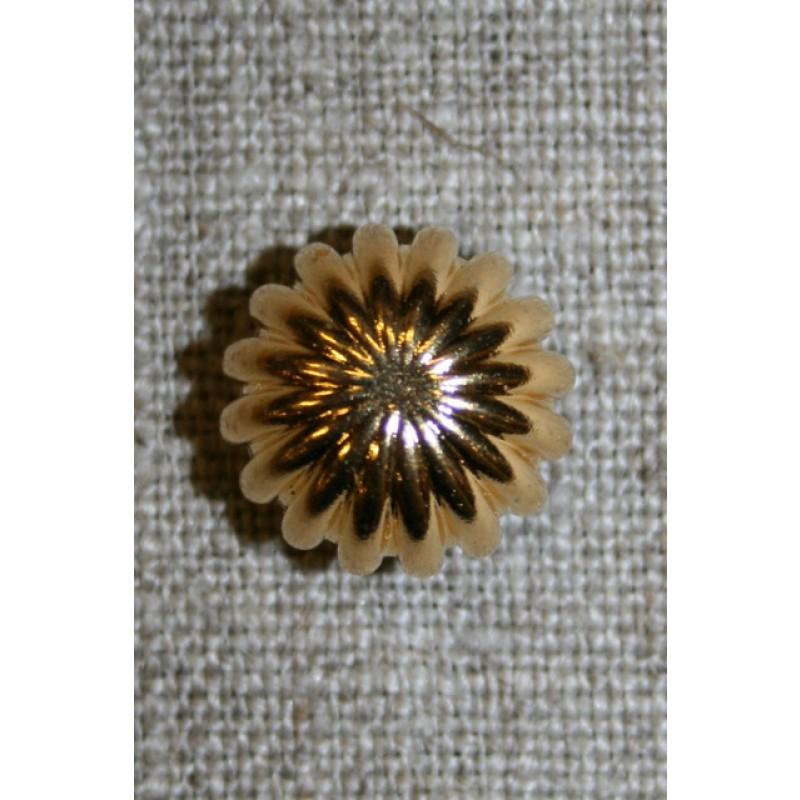 Knap rund m/riller, guld 15 mm.