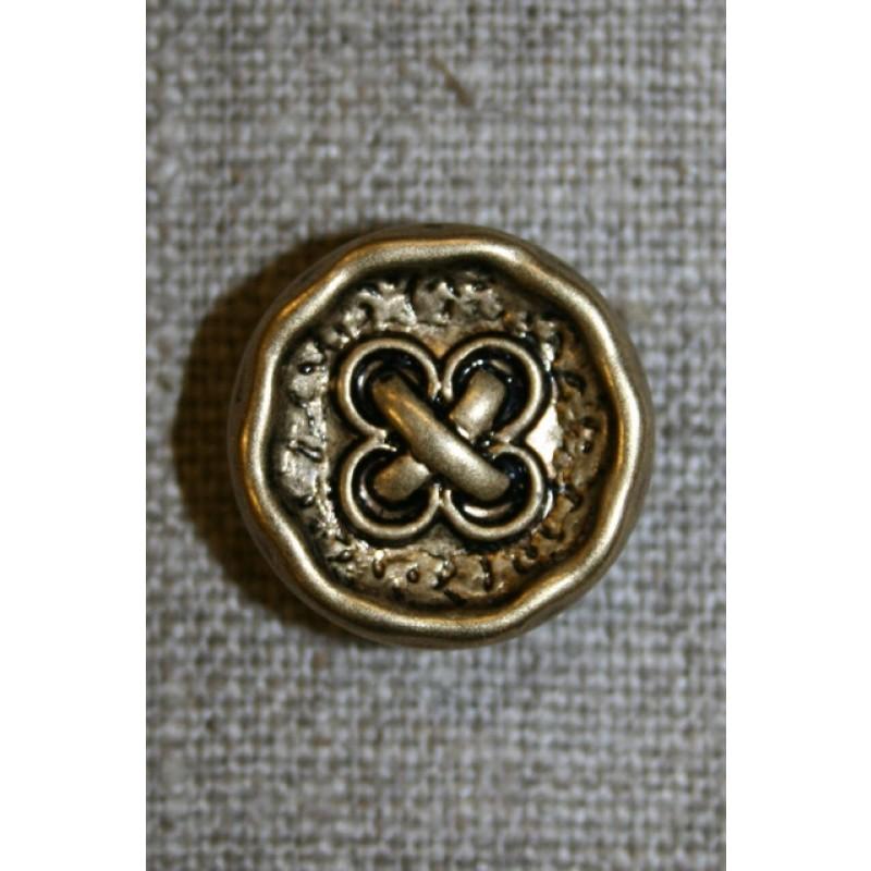 Knap m/kryds guld/sort, 18 mm.-35