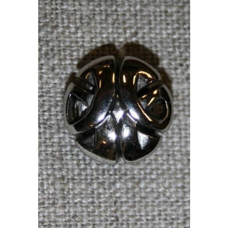 Knap m/mønster, sølv-35