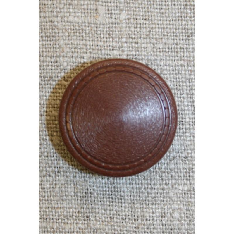 Brun knap m/mønster-kant, 25 mm.-35