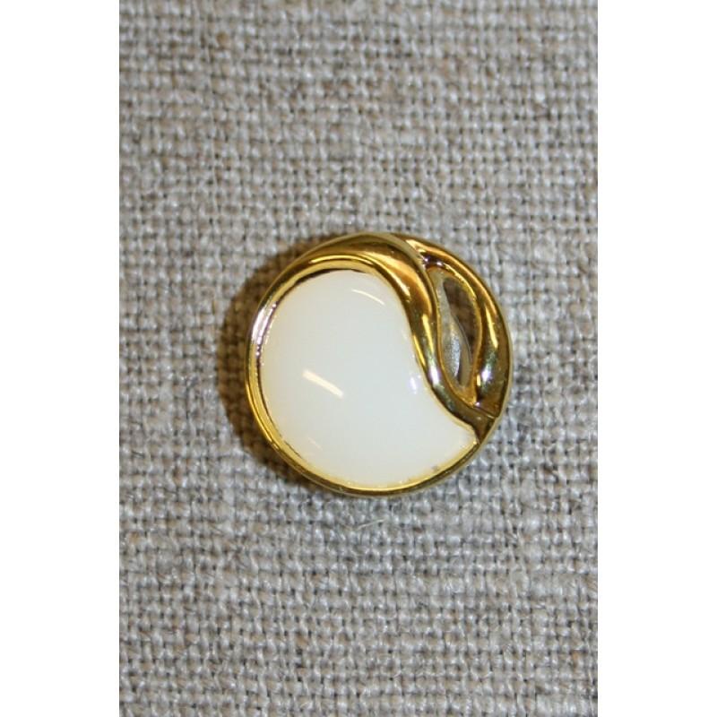 Knap guld/knækket hvid, 15 mm.-35