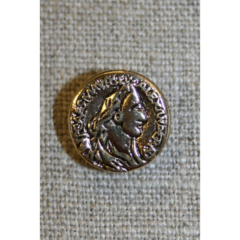 Guldknap i mønt-look, 15 mm.-35