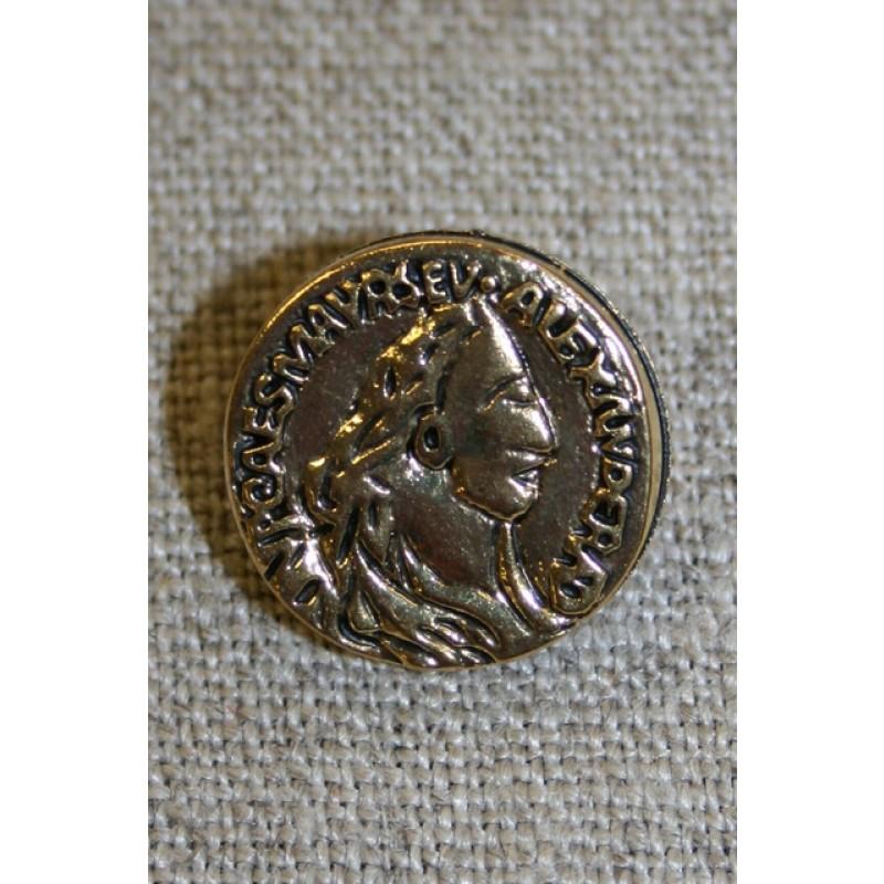 Guldknap i mønt-look, 18 mm.-35