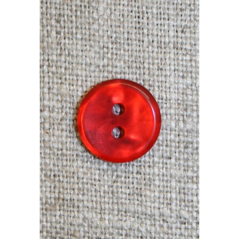 Rød meleret 2-huls knap, 13 mm.