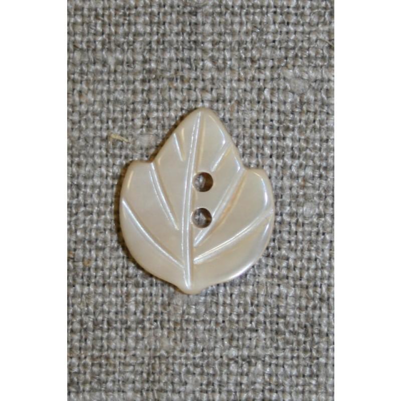 Perlemors-knap m/blad, off-white