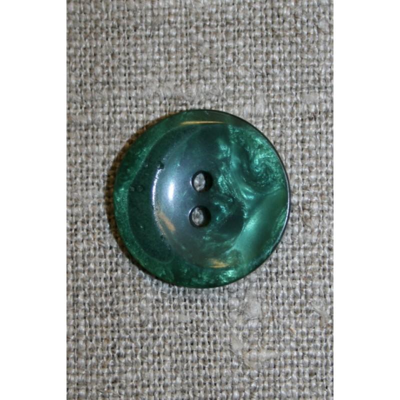 Grøn blank 2-huls knap, 20 mm.