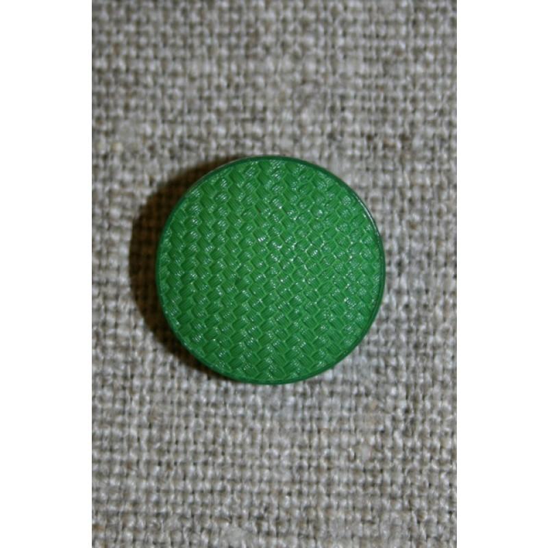 Rund grøn knap m/flet-mønster, 15 mm.-35