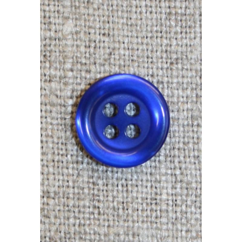 4-huls knap koboltblå, 12 mm.