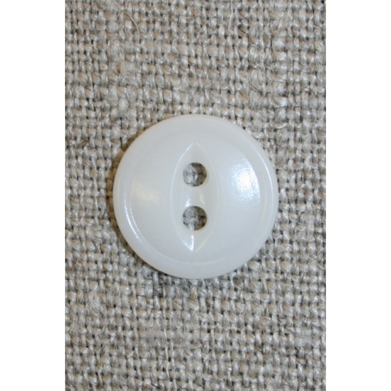 Hvid 2-huls knap, 14 mm.-35
