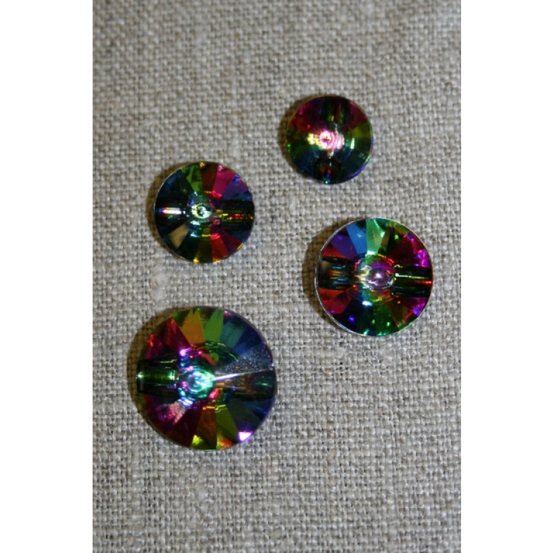 Crystal/simili knap m/kanal multifarvet 13 mm.-33