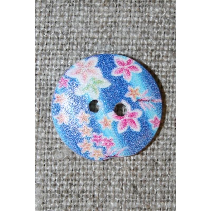 Knap træ m/print, rund blå m/blomster-35