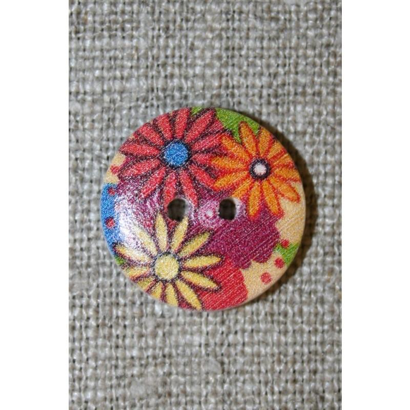 Knap træ m/print, rund m/blomster rød/orange/gul-35