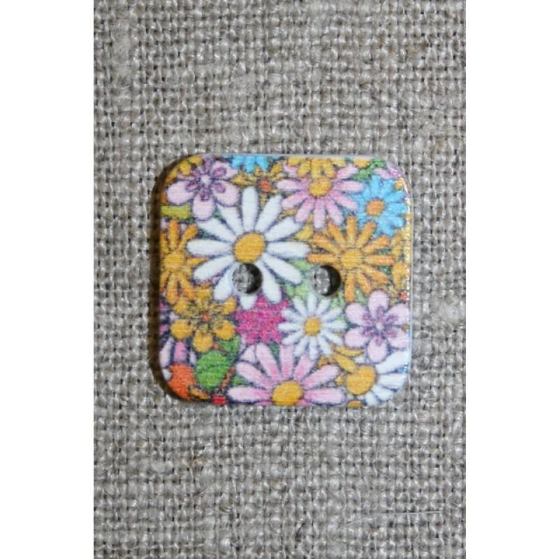 Knap træ m/print, firkant m/blomster, hvid/lyserød/gul