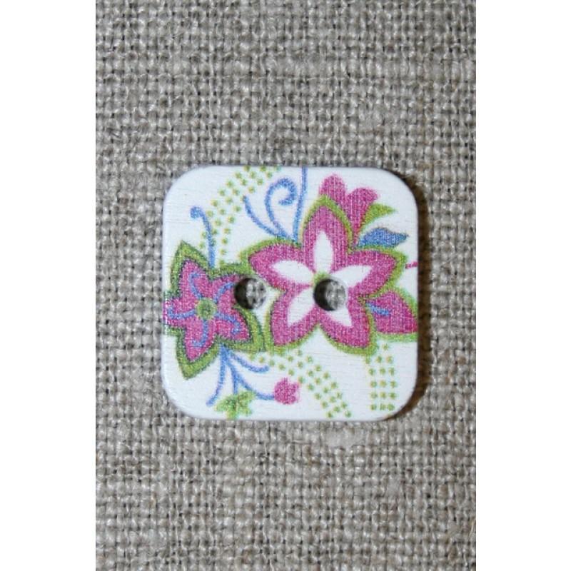 Knap m/print, firkant m/blomster, hvid/lyng/lime