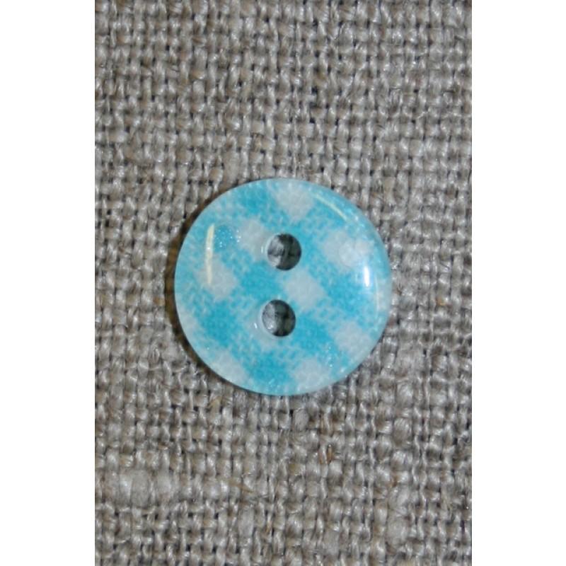 Ternet 2-huls knap turkis/hvid, 11 mm.-35