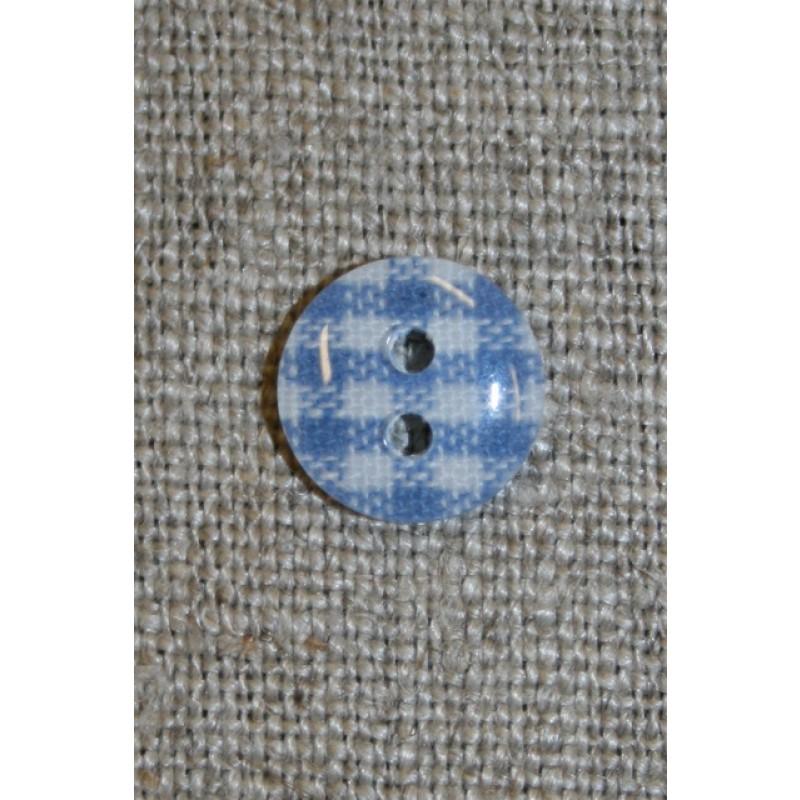 Ternet 2-huls knap blå/hvid, 11 mm.-31