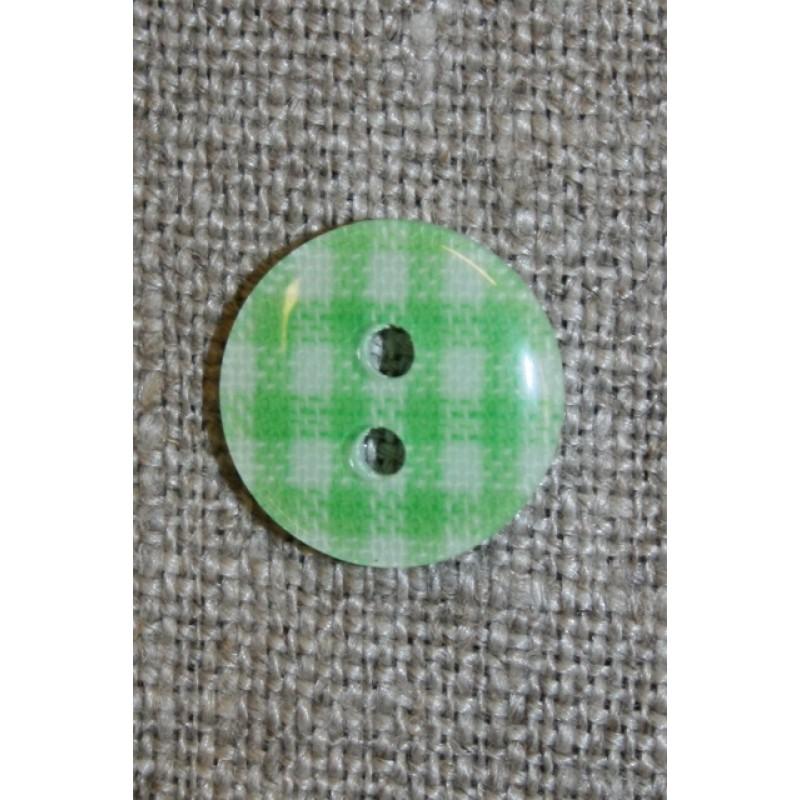 Ternet 2-huls knap lime/hvid, 13 mm.
