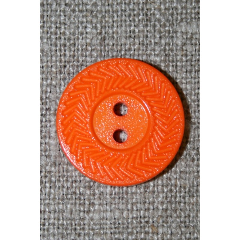 Orange 2-huls knap m/zigzag kant, 20 mm.
