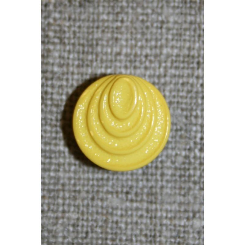 Gul knap m/cirkel-mønster, 13 mm.-31