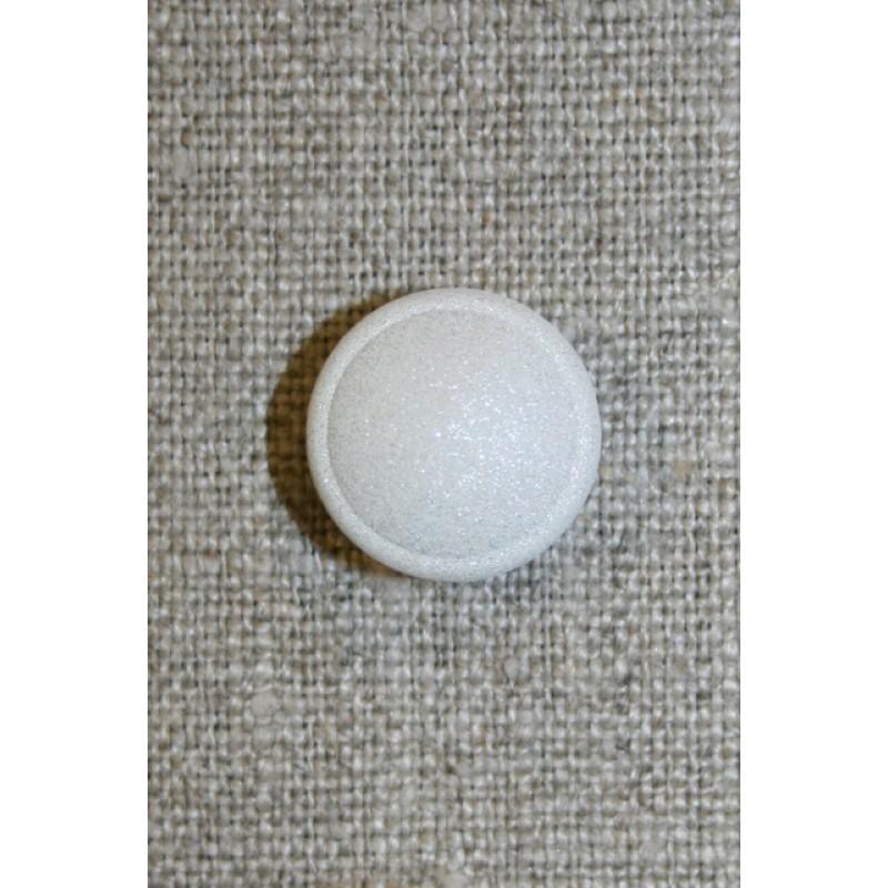 Rund hvid knap m/glimmer-31