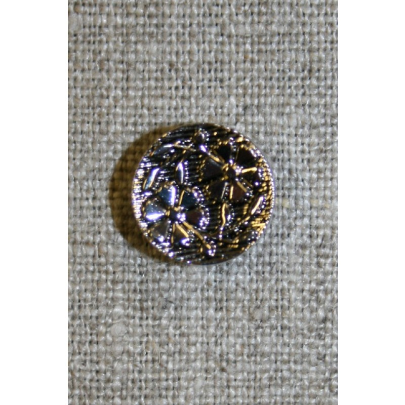 Knap m/blomster sort/sølv, 15 mm.