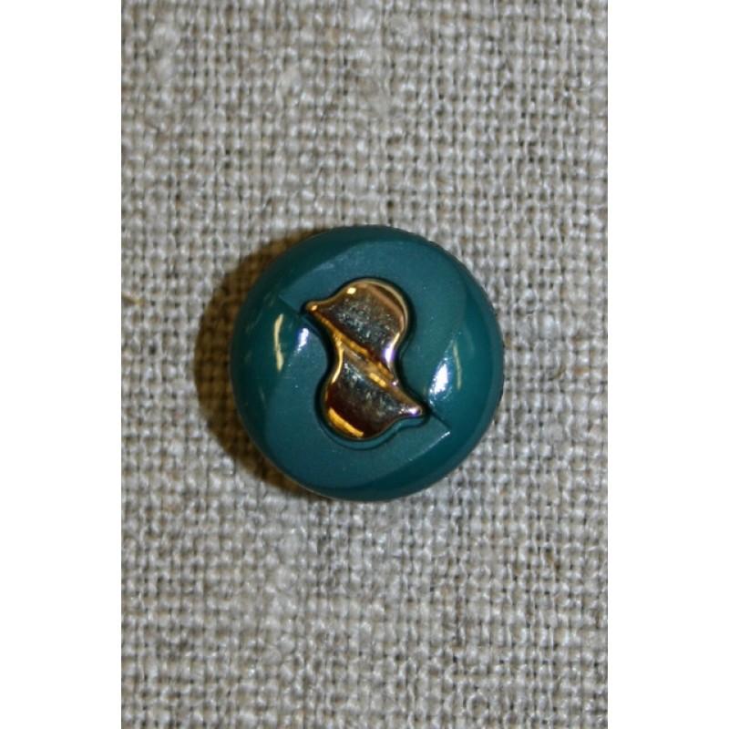 Knap petrol-grøn/guld, 15 mm.-35