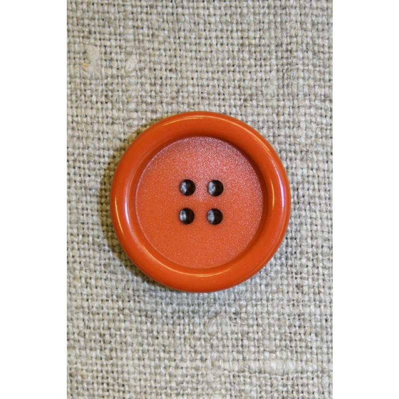 4-huls knap brændt orange, 22 mm.