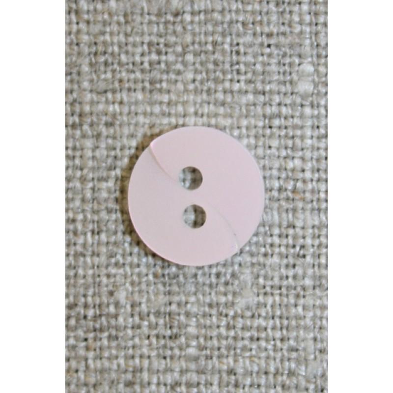 Babylyserød knap m/drejet look, 11 mm.-35