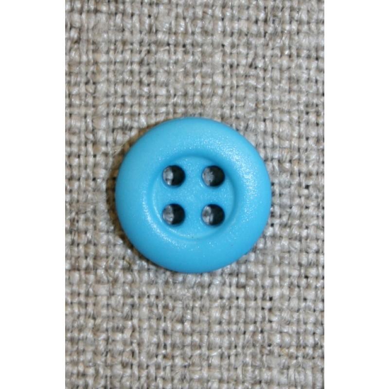 4-huls knap turkis, 13 mm.