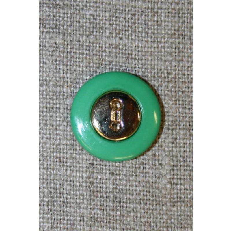Brilliant-grøn knap m/guld midte 18 mm.-35