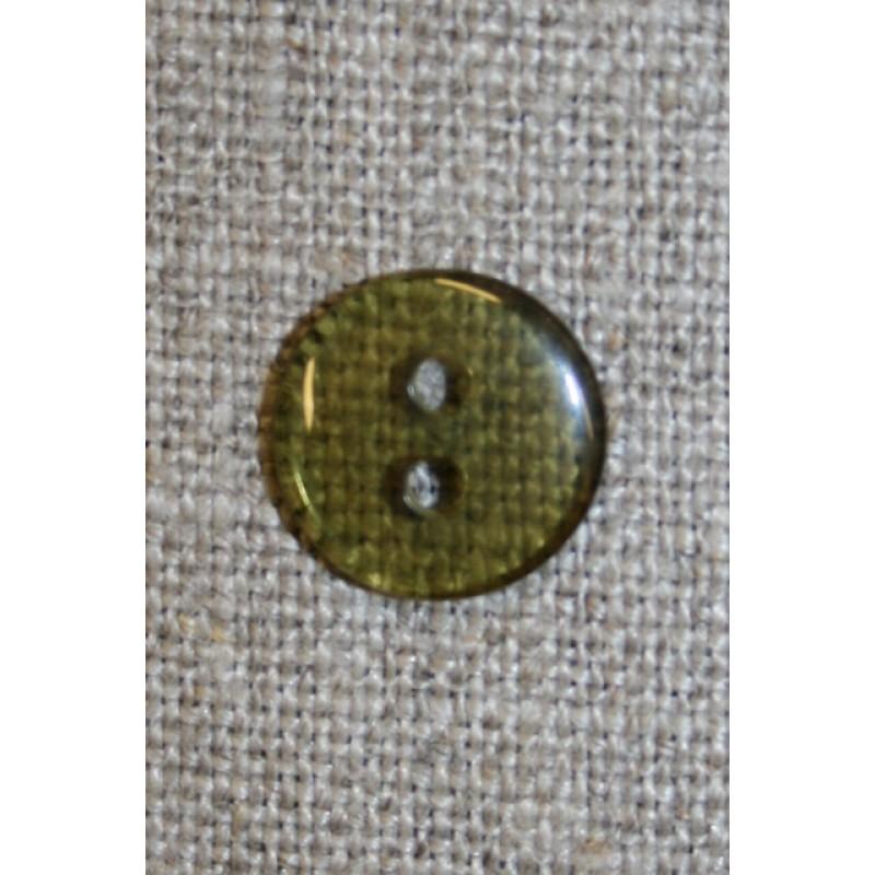 Klar brun/grøn 2-huls knap, 13 mm.