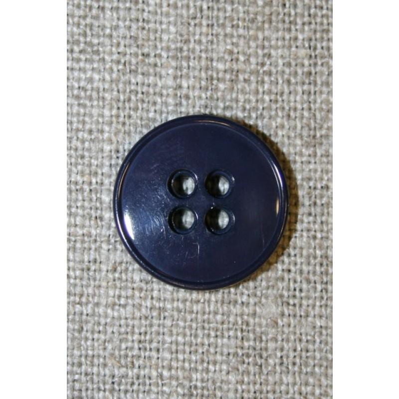 Mørk blå-lilla 4-huls knap, 18 mm.