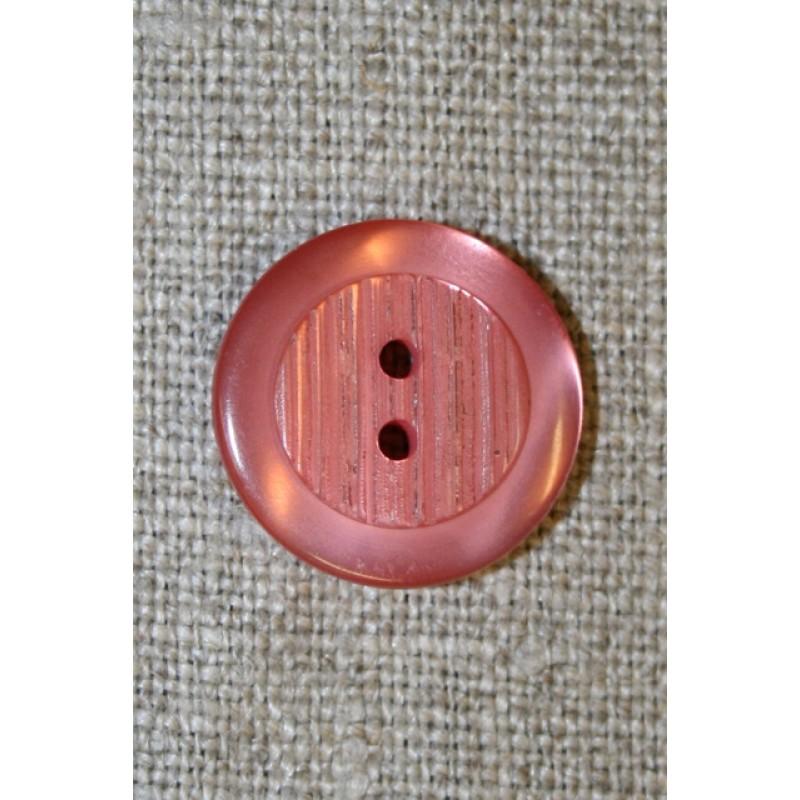 Gl.rosa 2-huls knap, 18 mm.