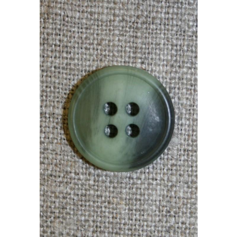 4-huls knap meleret lysegrøn/grøn, 18 mm.
