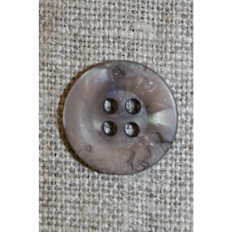 4-huls knap krakeleret lys grå-brun, 15 mm.-33