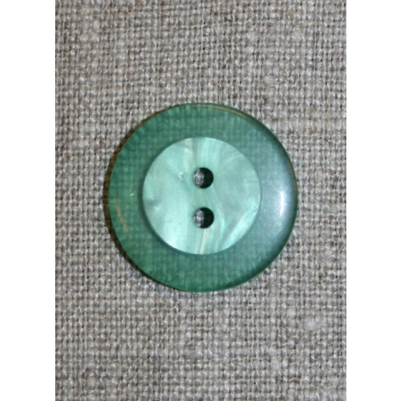 Grøn knap /transperant kant, 22 mm.-31