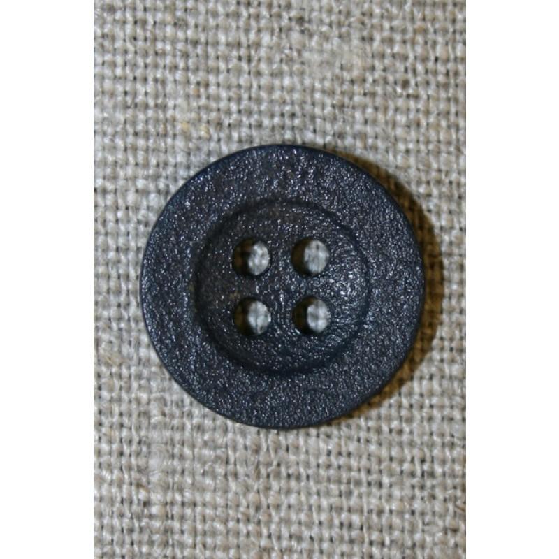Mørkeblå ru 4-huls knap, 18 mm.-35